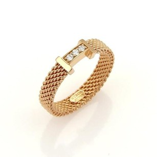 Tiffany & Co. Tiffany Co. Somerset Narrow Diamond 18k Rose Gold 3.5mm Mesh Band Ring-