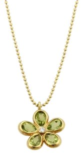 Tiffany & Co. Tiffany Co. Sparklers Flower Peridot Diamonds Pendant In 18k Yellow Gold