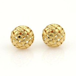 Tiffany & Co. Tiffany Co. Vannerie 18k Ygold Basket Weave Round Clip On Earrings