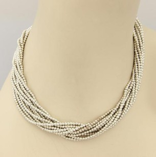 Tiffany & Co. Tiffany Co. Vintage Sterling Silver Multi Strand Bead Necklace 17.5 Long