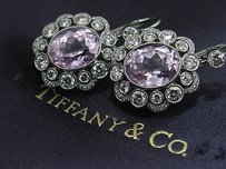 Tiffany & Co. Tiffany Co Platinum Kunzite Diamond Drop Hook Earrings 11.72ct Pt950