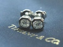 Tiffany & Co. Tiffany Co Platinum Lucida Diamond Bezel Set Stud Earrings 1.24ct E-vvs2