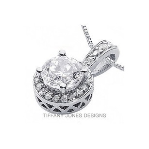 Tiffany Jones Designs 2.42ct Tw H-vs2 Exc Round Natural Diamond 950pl Prong Style Accent Pendant 12mm