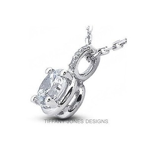 Tiffany Jones Designs 2.54ct Tw E-vs1 Ideal Round Natural Diamond Pl. 950 Prong Side Stone Pendant 1mm