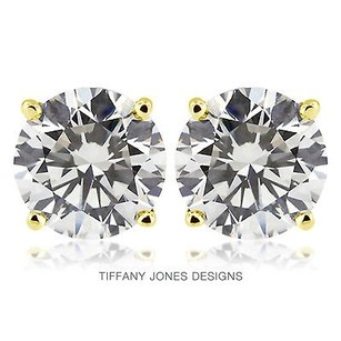 Tiffany Jones Designs 3.98ct Tw F-si3 V.good Round Natural Diamonds 14k 4-prong Solitaire Studs 1.71gr