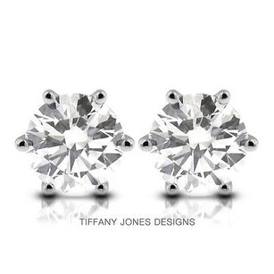Tiffany Jones Designs 3.98ct Tw H-vs2 Exc Round Natural Diamonds 14k 6-prong Solitaire Earrings 1.96gr