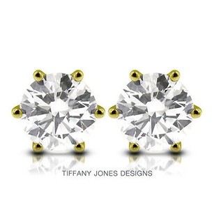 Tiffany Jones Designs 4.06 Ctw H-si1 Ideal Round Natural Diamonds 14k 6-prong Solitaire Earrings 1.96g