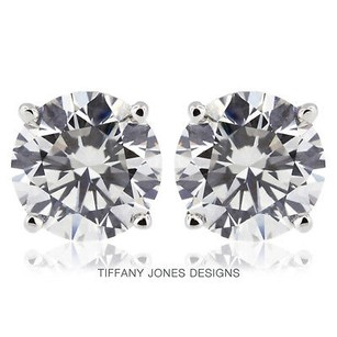 Tiffany Jones Designs 4.08ct Tw G-si2 V.good Round Natural Diamonds 14k 4-prong Solitaire Studs 1.71gr