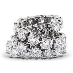 Tiffany Jones Designs Ct Tw G-vs2 Exc Round Natural Diamonds 18k 4-prong Womens Bracelet 13.58gr