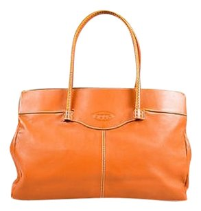 Tod's Tods Leather Embossed Tote in Tan