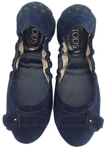 Tod's Dark Suede Oxfords K Blue Flats