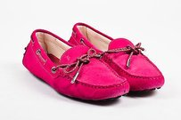 Tod's Magenta Suede Braided Trim And Bow Tie Square Toe Loafers Pink Flats