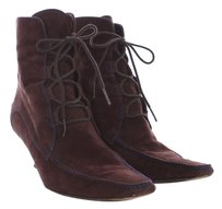 Tod's Suede Bootie Lace Up Leather Brown Boots
