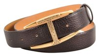 Tod's Tods Brown Pebbled Leather Rhinestone T Belt 85