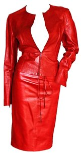 Tom Ford Gorgeous Tom Ford For Gucci FW 1997 Two-Tone Red Leather Moto Jacket & Skirt!