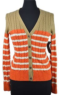 Tommy Hilfiger 48 37 Orange Cable Knit Cardigan Sweater