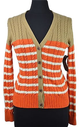 Tommy Hilfiger 48 37 Beige Orange Cable Knit Cardigan Sweater New
