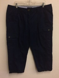 Tommy Hilfiger Crop Navy Womens Pockets Cargo Pants Blue