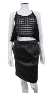 Topshop Ruch Leather Mini By Boutique Skirt Black