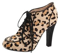 Topshop Tan Black Cheetah Animal Print Calf Hair Lace Up High Heels Pumps