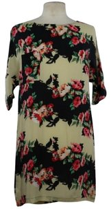 Topshop Womens Floral Summer Silk Short Sleeve Above Knee Dress