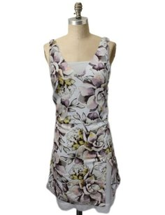 Topshop Floral Design Overlay Deep V Back White Dress