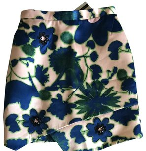 Topshop Skirt Peach With Blue And Green Flowers & Sequin Details