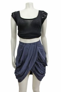Topshop Draped Pleated Skirt Gray