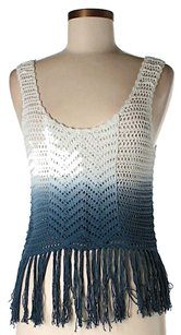 Torn by Ronny Kobo Ombre Crochet Fringe Hem Top Blue & White