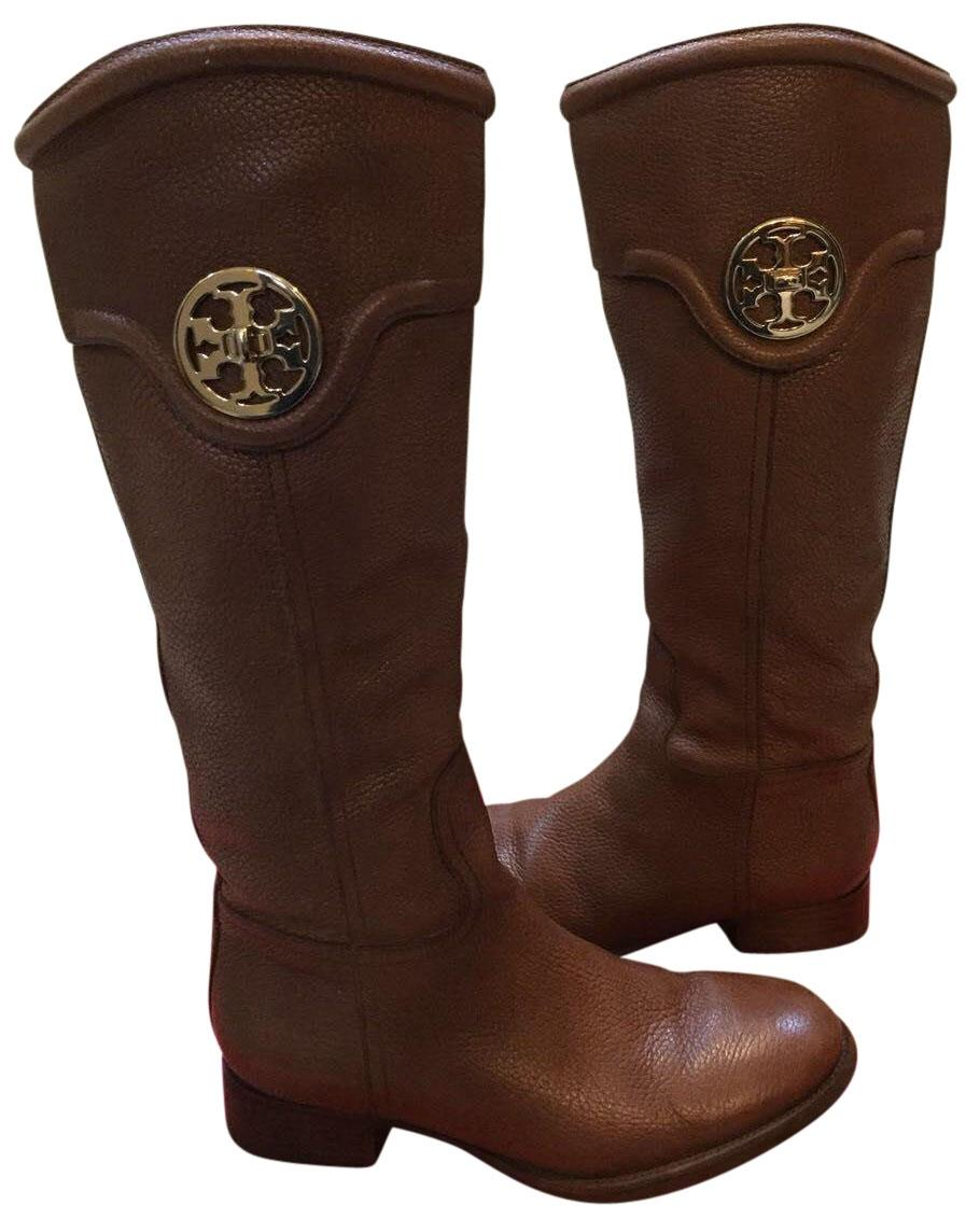 42858a940a45 ... real tory burch ridingboot leather gold almond boots 06edf b69f5