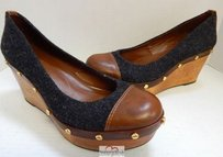 Tory Burch Charcoal Wood Brown Leather Wedge Heels Multi-Color Platforms