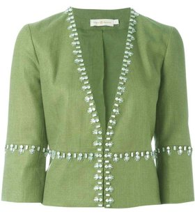 Tory Burch Avery Embellished Cropped green Jacket
