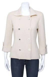 Tory Burch Tory Double Breasted Button Merino Wool Knit Belted Ivory Jacket