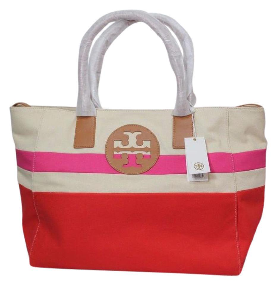 Tory Burch New Tags Nwt Logo Canvas Adjustable Summer Red Pink ...