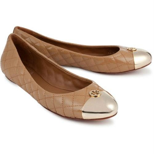 Tory Burch Beige Gold Kaitlin Ballet Quilted Leather Flats Size US 8  Regular (M, B) - Tradesy
