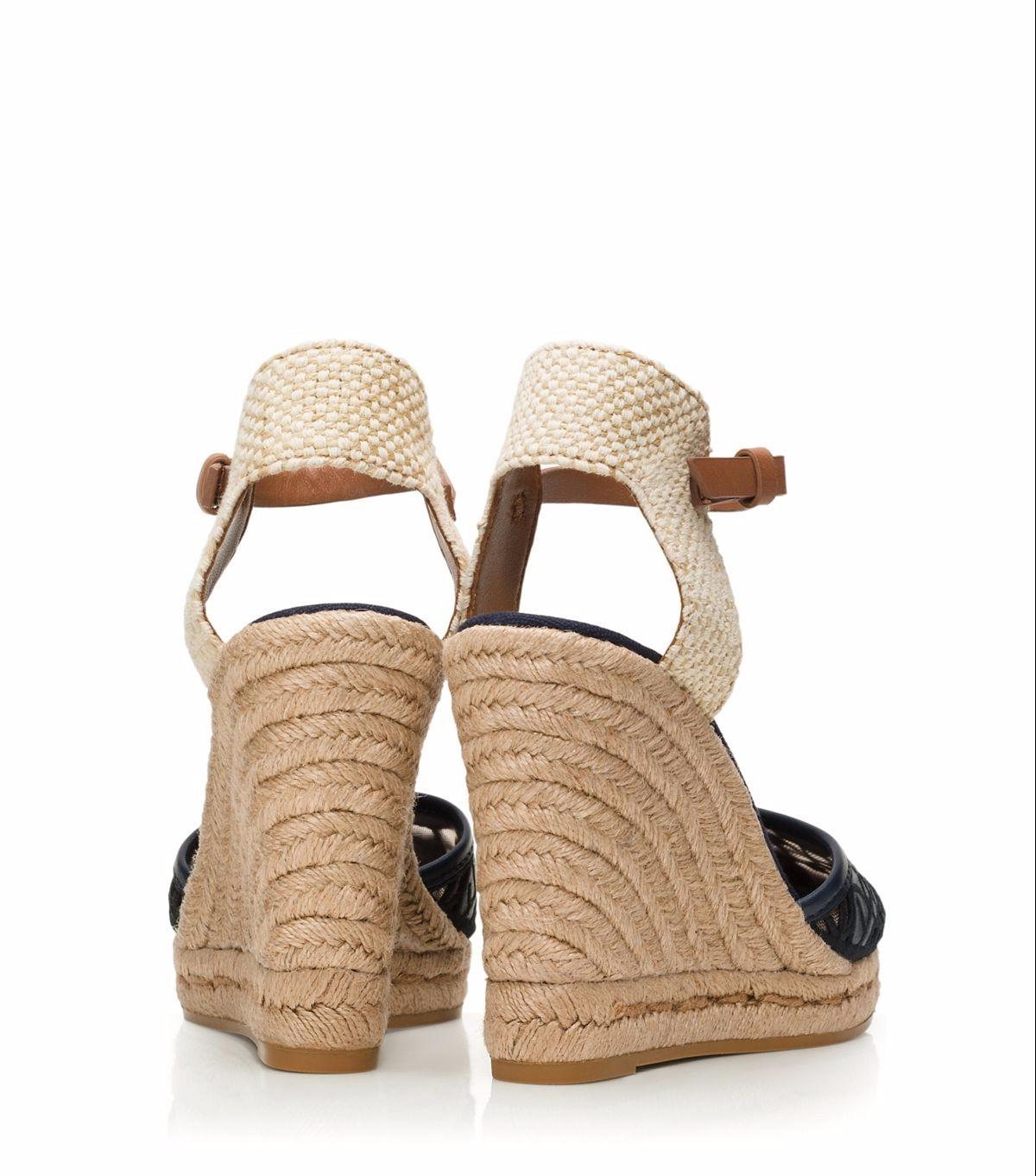 Tory Burch 51148403 Lucia Lace Espadrille Natural Tan Size 7 Black And Navy  Wedges. 123456789