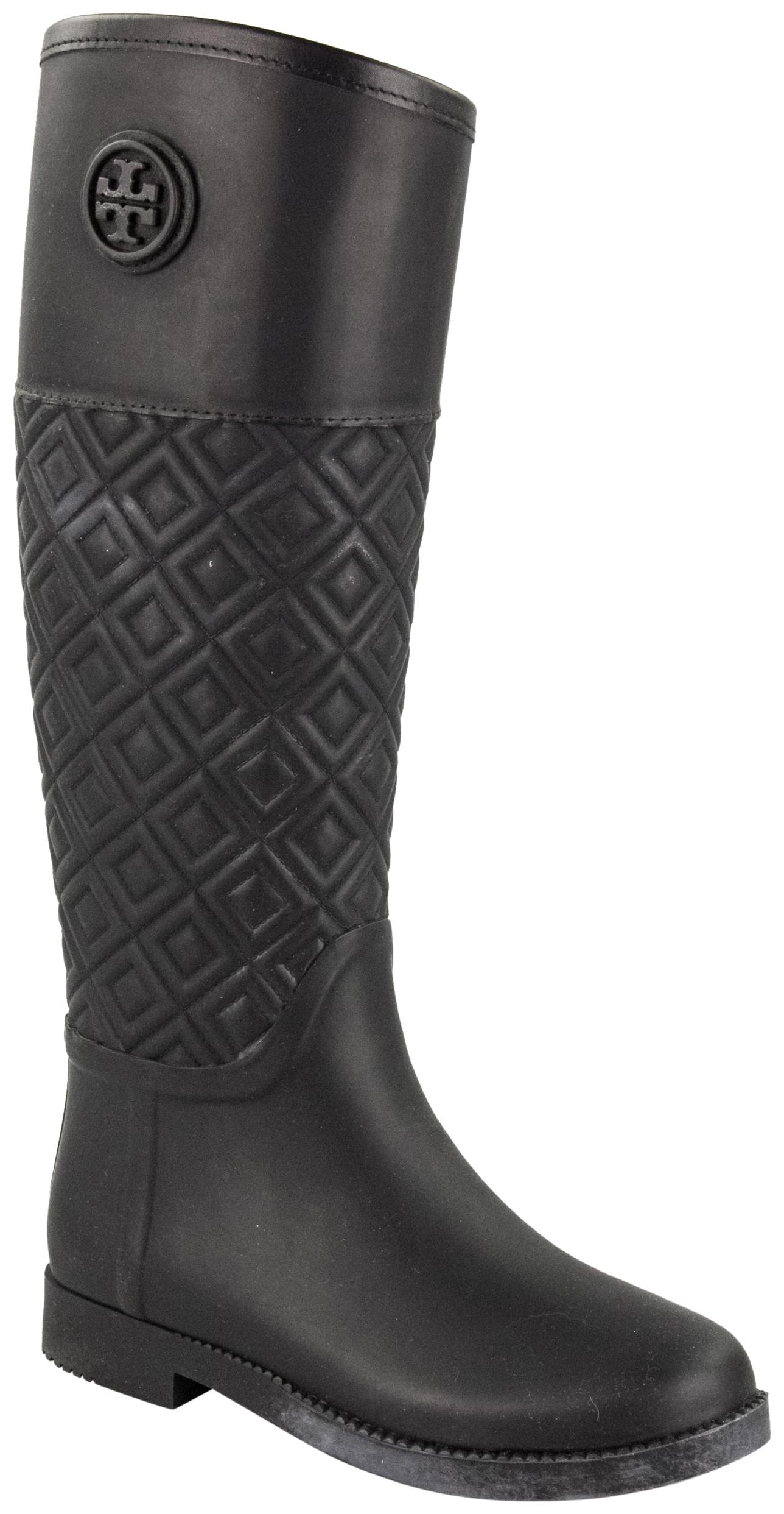 Tory Burch Black Marion Quilted Rubber Boots Booties Size
