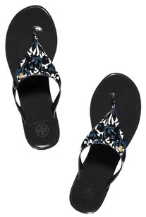 Tory Burch Black floral blue Sandals