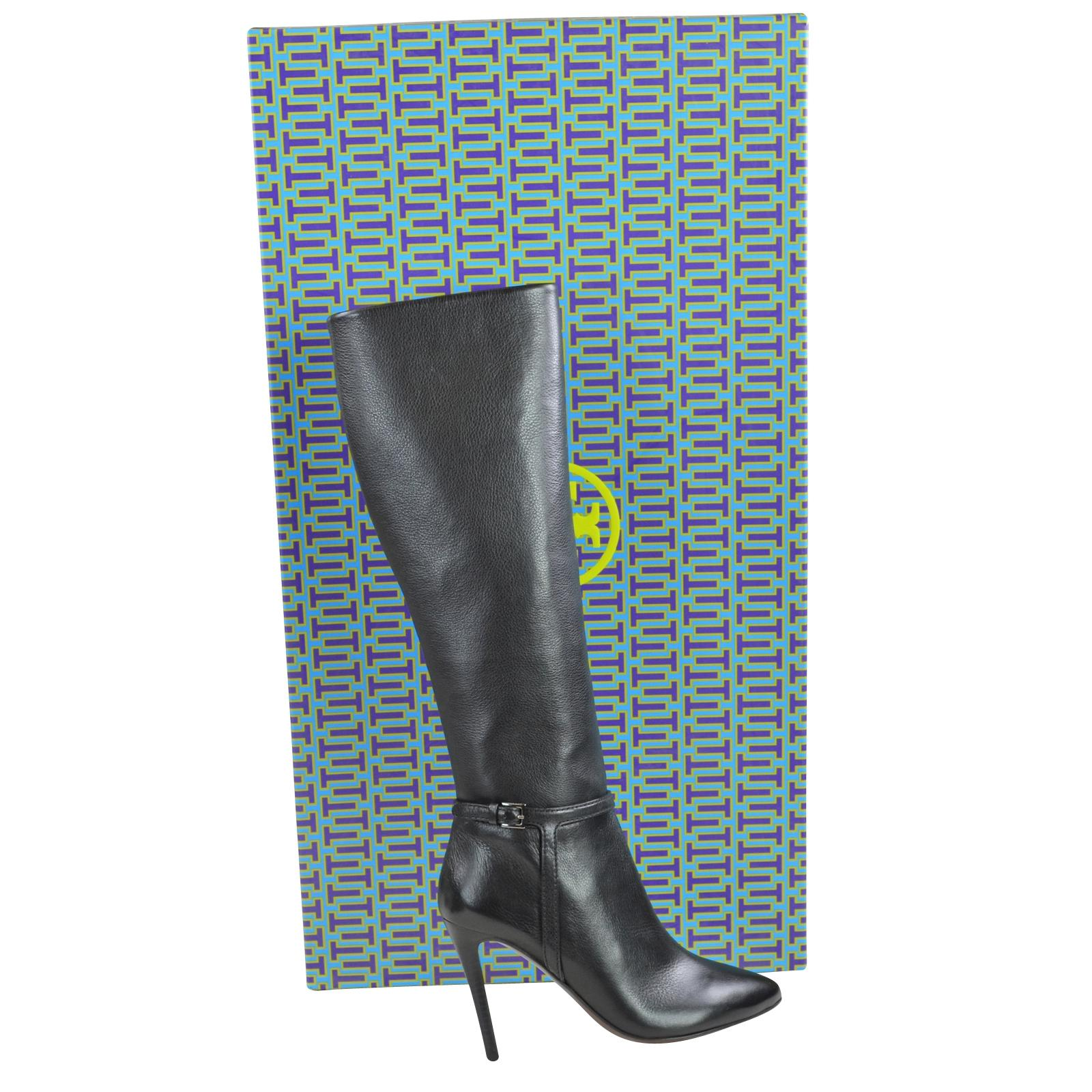 Tory Burch Black Mari 100mm Stiletto Tumbled Leather Boots/Booties Size US 6.5 Regular (M, B)