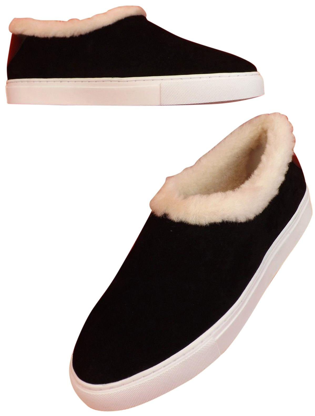 e6a987af1d87 Tory Burch Black Miller Suede Suede Suede Shearling Reva Slip On Sneakers  Flats Size US 10.5