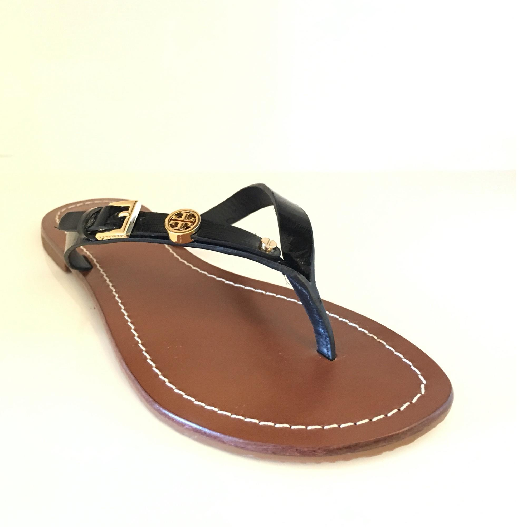 0d164ab3f00eb3 ... wholesale tory burch black monogram flat thong sandals d95b3 f880e