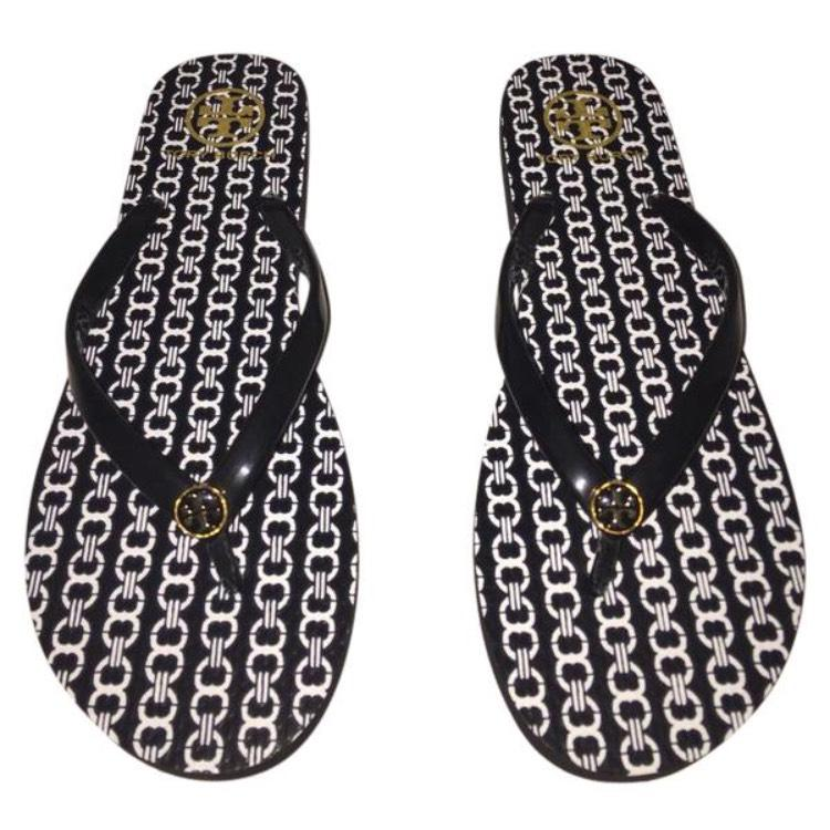498f25a67cb4 Tory Burch Black White White White Gold Flip Flops Comes with Tb Box. Sandals  Size