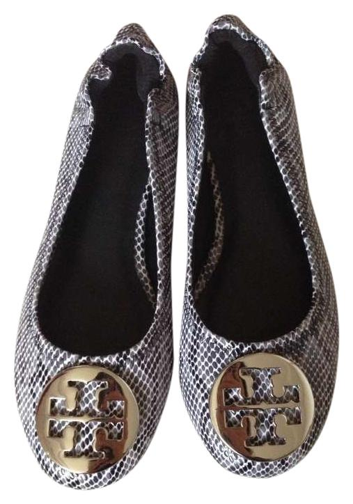 74784976e9c62 ... sale tory burch reva new without tag leather black white snake print  flats 33a44 a76fb
