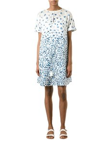 Tory Burch short dress White Blue Flower Silk on Tradesy