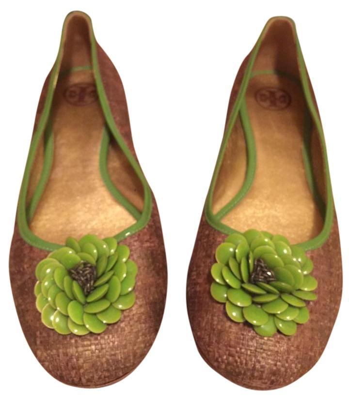 Tory Burch Bronze/Gold/Green Woven Raffia Enamel Flower Flats Size US 8.5 Regular (M, B)