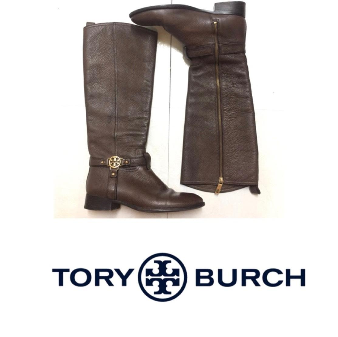 Tory Burch Brown Bristol Pebbled Leather Riding Boots/Booties Size US 9 Regular (M, B)