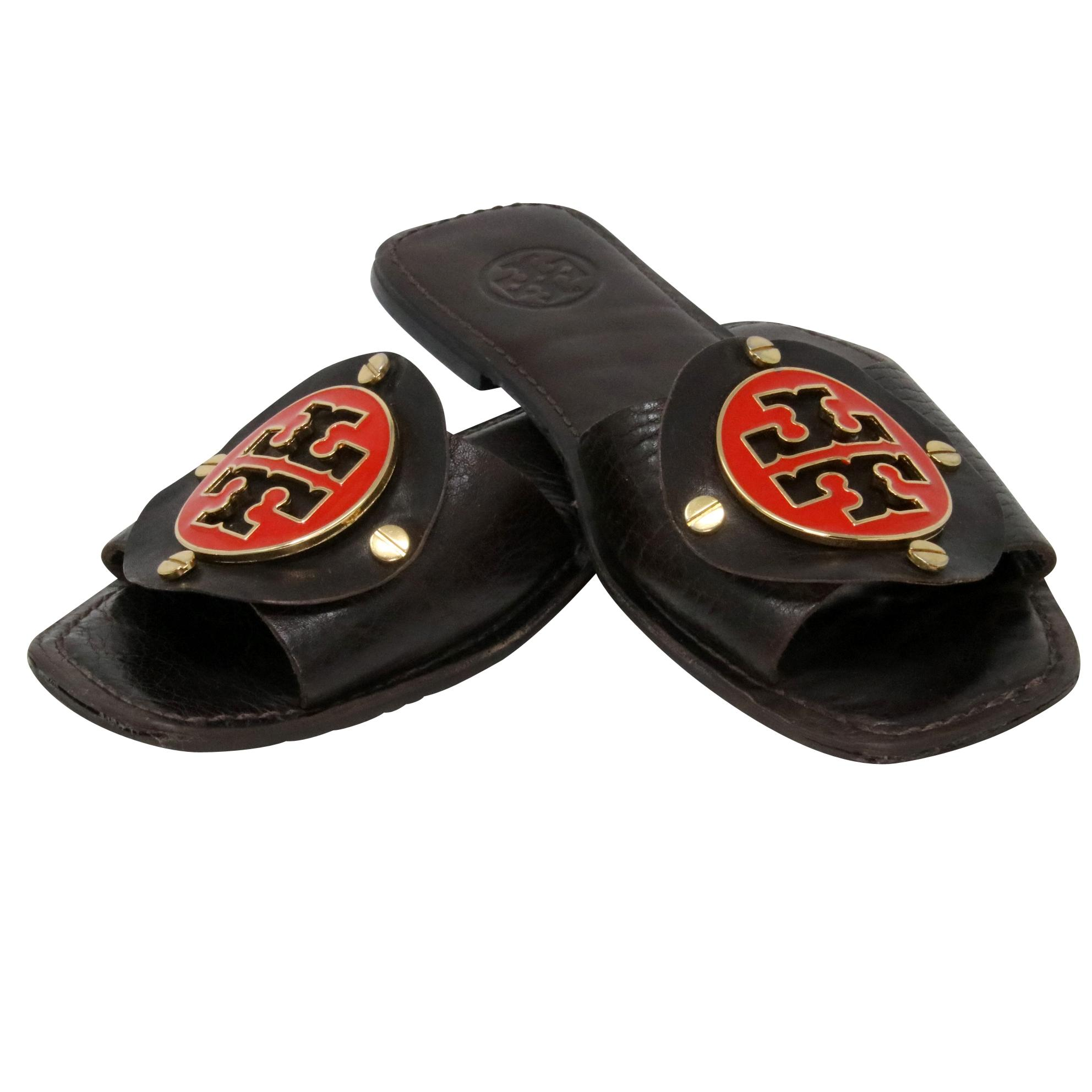 60a4cd311a02 ... Tory Burch Brown Classic Leather Studded Logo Flat Flat Flat Sandals  Size US 8 Regular ...