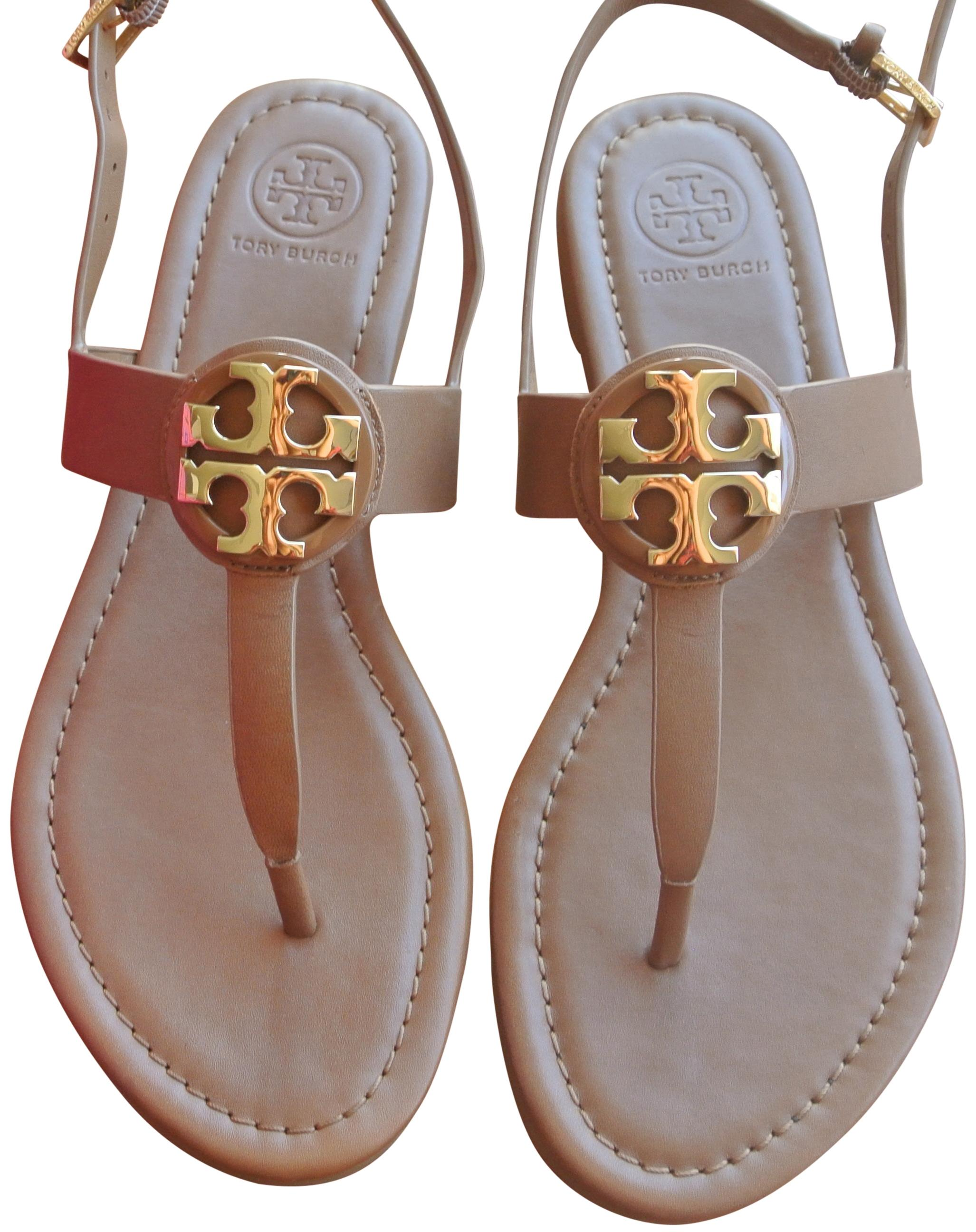Tory Burch Brown End-of-summer-sale Royal Tan/Gold Bryce Flat Sandals Size US 7.5 Regular (M, B)