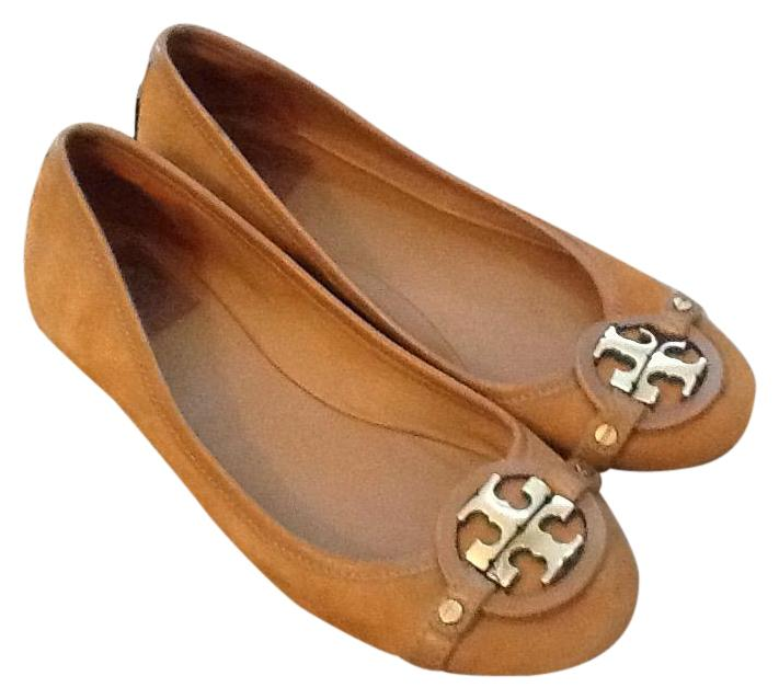 226db1d36f0f ... coupon code for tory burch leather logo reva forsale brown flats ee9b1  cb6e4