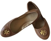 Tory Burch brown with gold logo Flats